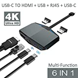 USB C Hub Multiport Adapter-2018 New Type C Dock Station with 4K HDMI, RJ45 Gigabit Ethernet, PD Charger Port, 1 USB C Port, 2 USB 3.0 Ports for Apple Macbook Pro 2017, Dell XPS 13, Chromebook LFA-001