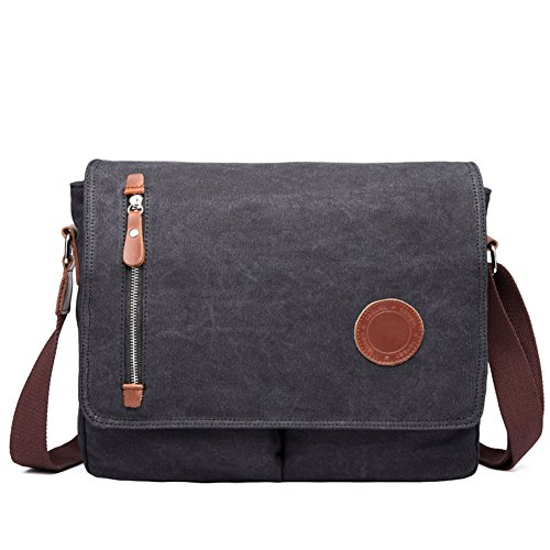 DricRoda Vintage Canvas Briefcase Cross Body Shoulder Bag,Large Capacity Messenger Laptop Satchel Bag with Durable Adjustable Cotton Braided Shoulder Strap for Laptops up to 10 Inches,Black by DricRoda (Image #1)