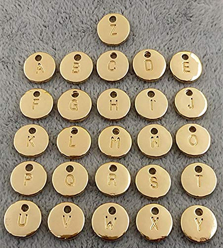 Snowflake Tag Charm - Pasona- Charms 26pcs/Set Double Side Round Silver Gold Color Alphabet A-Z Letter Tag Charms Stamp Initial Charm for Jewelry Making - by Pasona - 1 PCs
