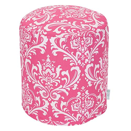 Majestic Home Goods Hot Pink French Quarter Indoor Bean Bag Ottoman Pouf  16