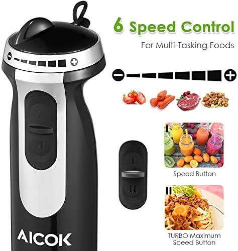 Aicok Hand Blender, 4 in 1 Immersion Blender with Mixing Beaker 800ml , Chopper, and Whisk, 12-Speeds, Multifunctional Blender with Anti-Splash Blade, BPA Free