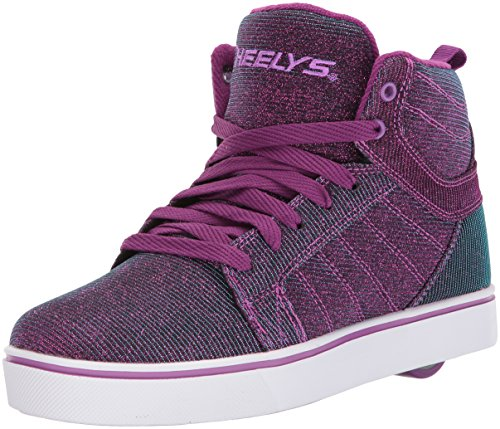 Heelys Girls' Uptown Sneaker, Berry/Aqua, 6 Medium US Big Kid