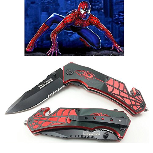 Spider Man 8 Inch Spring Assisted Pocket Knife With Glass Breaker + Belt (Spider Man Spring)