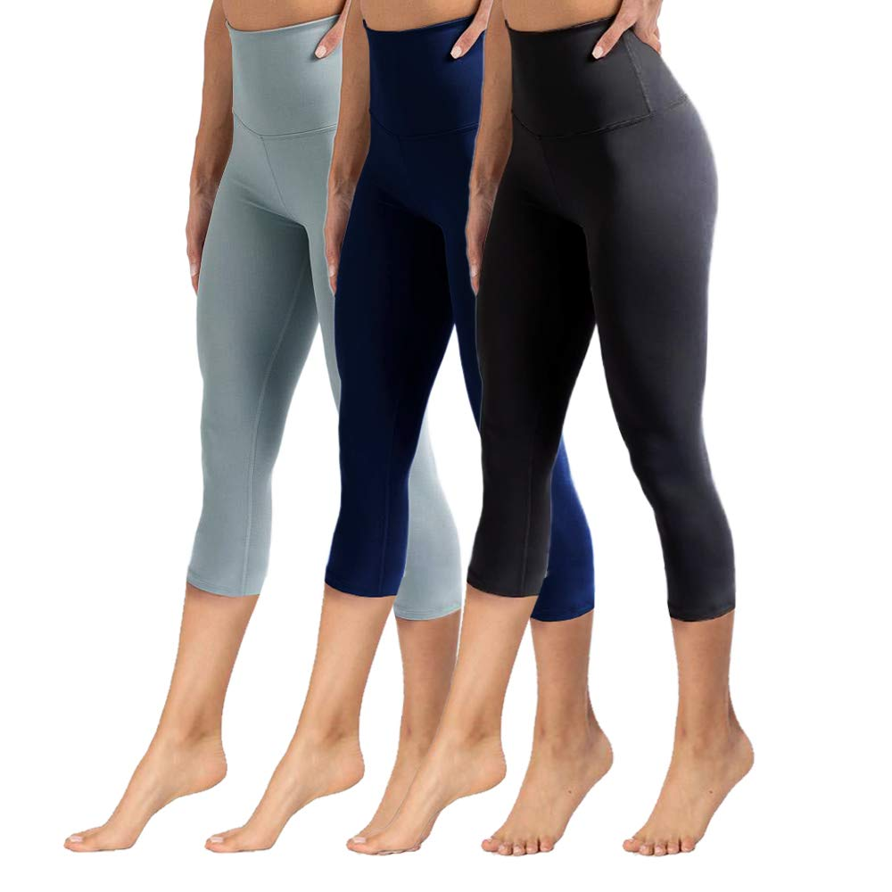 High Waisted Capri Leggings for Women Tummy Control Soft Opaque Slim Pants for Cycling, Yoga, Running by YOLIX