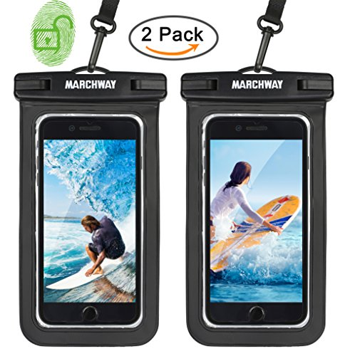 Universal Waterproof Case 2 Pack, MARCHWAY Cellphone Dry Bag Pouch with Touch ID Fingerprint for Apple iPhone 8/8 Plus/7/7 Plus/6S/6S Plus, Samsung Galaxy S8/S7, Any Phone Up to 7 Inch (Black + Black) Touch Mobile