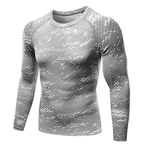 Shouhengda Men's Long Sleeve Sports Compression Under Skins Base layer T-Shirt Athletic Tops