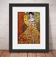 Quadro Decorativo Poster Gustav Klimt Adele & Vidro & Paspatur
