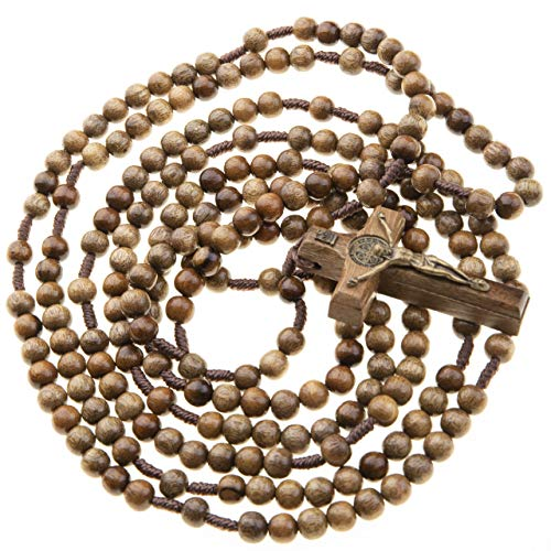 "20 Decade Rosary Beads Catholic 7mm Brown Wood 43"" Long on Durable Cord Wooden Crucifix"