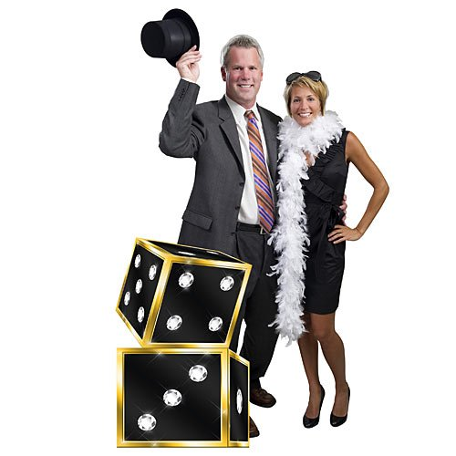 3 ft. 10 in. Rhinestone Dice Vegas Casino Standee Standup Photo Booth Prop Background Backdrop Party Decoration Decor Scene Setter Cardboard Cutout ()