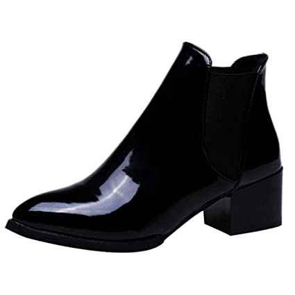 6a0e94e53922 SUKEQ Ankle Boots for Women Fashion Ladies Slip On Patent Leather Booties  Chunky Heel Pointed Toe