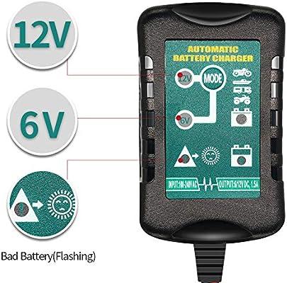 ULTRAPOWER 1,5 A 6 V 12 V Cargador de batería Flotante de ...