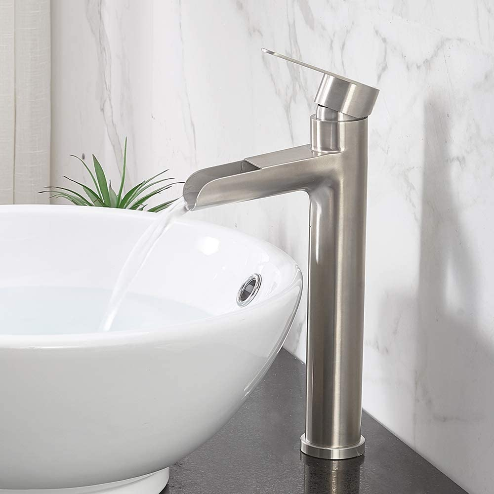 Vccucine Commercial Tall Waterfall Spout Brushed Nickel Vessel Sink Faucet Single Handle Mixer Bathroom Faucet With Two 3 8 Hoses