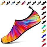 SOVIKER Mens Womens Outdoor Water Shoes Barefoot Quick-Dry Slip-On Aqua for Beach Swim Surf Yoga Exercise Colorful 40/41
