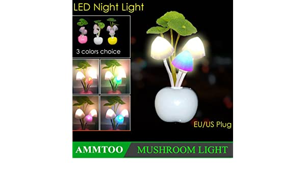 Amazon.com: EU Plug Light Sensor Lamp RGB LED Night Light AC 220V LED Light Baby Children Kids Dream Breathing Sleeping Lights Fungus Lamp: Baby