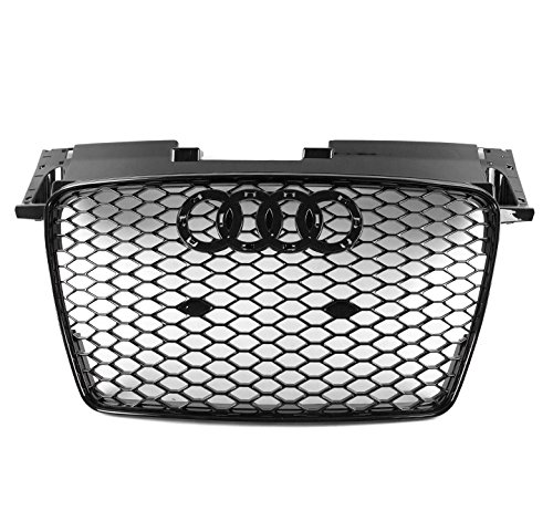 ZMAUTOPARTS For 2007-2014 Audi TT/TT Quattro TTRS Style Honeycomb Mesh Hex Grille Gloss Black