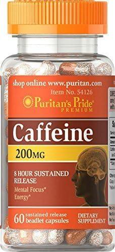 2 Bottles of Puritan s Pride Caffeine 200 mg 8-Hour SR- 60 Capsules x 2 120