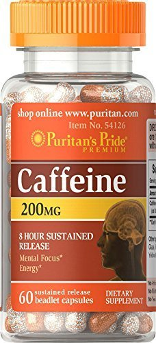 2 Bottles of Puritan's Pride Caffeine 200 mg 8-Hour SR-(60 Capsules x 2 = 120) For Sale