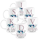 Personalized Wedding Gifts Bridesmaid Coffee Mug - 11oz & 15oz Large Ceramic Coffee Cup with Matching Coaster - Custom Bridesmaid Gifts, Bachelorette Party Favors - Design 3 - Set of 6