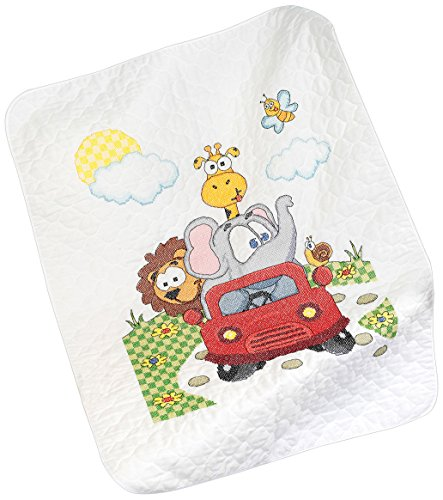 Baby Animals Quilt Stamped Cross - Janlynn Animal Fun Ride Quilt Stamped Cross Stitch Kit, 34 by 43-Inch