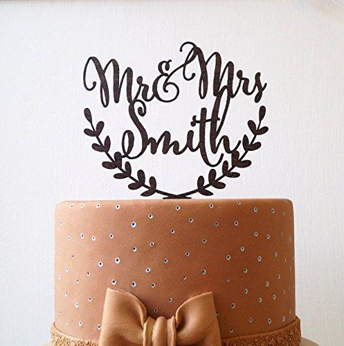 Personalized wedding cake topper, Mr and Mrs custom cake topper, rustic wedding cake topper, names cake topper (Finish Woodland Wood Oak)