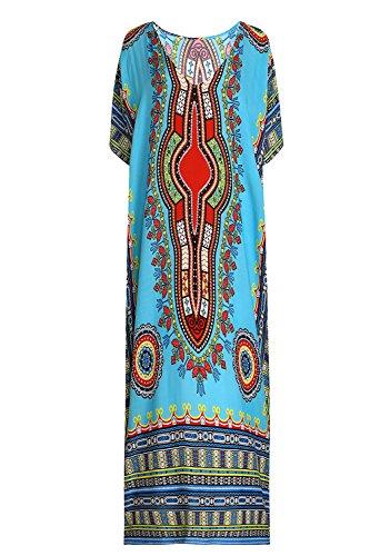 - SMUDGE Life Women's White Ethnic Print Kaftan Maxi Dress Summer Beach Dress