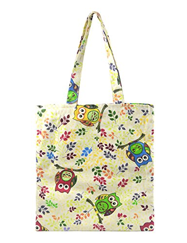 POPUCT Cute Owl 100% Cotton Canvas Tote Bag (A) -