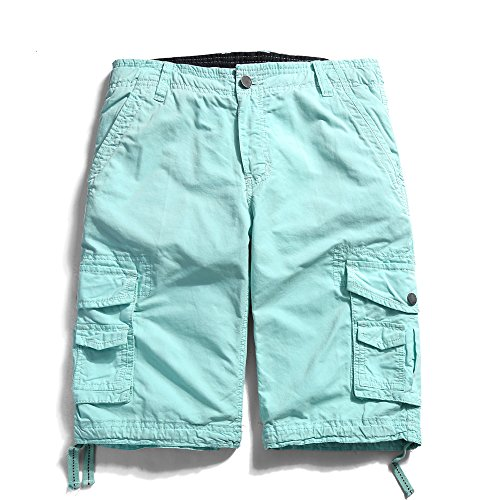 7db9e1bf58 OCHENTA Men's Cotton Casual Multi Pockets Cargo Shorts #3231 Sky blue 32 -  Buy Online in Oman. | Apparel Products in Oman - See Prices, Reviews and  Free ...