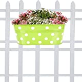 Trust Basket Dotted Oval Railing Planter (Green)