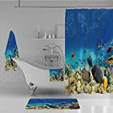 Calypso Fish Shower Curtain iPrint Bathroom 4 Piece Set Shower Curtain Floor mat Bath Towel 3D Print,with Fish and Source of Oxygen Coral Aquatic Liquid,Fashion Personality Customization adds Color to Your Bathroom.