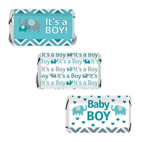Teal Blue and Gray Elephant Boy Baby Shower Miniatures Candy Bar Wrapper Stickers (Set of 54) (Miniature Shower Baby Candy Wrappers)