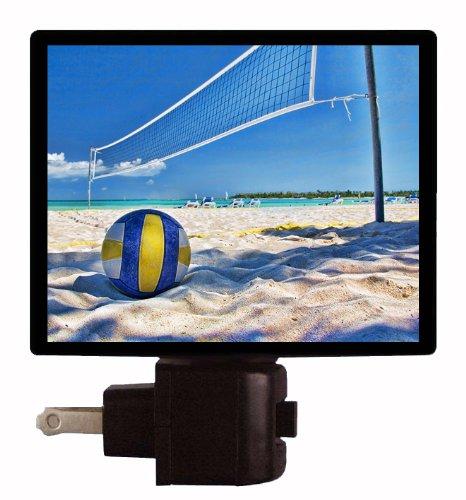 Volleyball Night Light - Volleyball and Net on Beach (Light Court Bath)