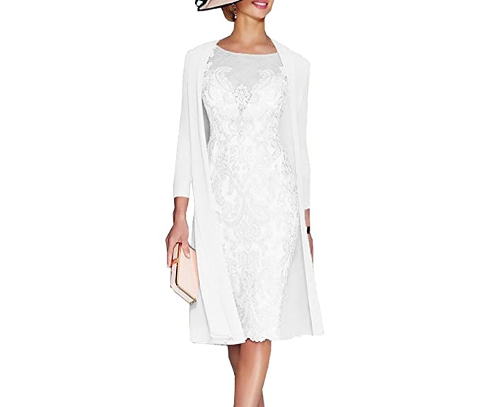 162b0548a5668 APXPF Women's Mother of The Groom Dresses Tea Length with Jacket White US2