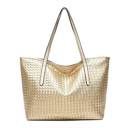 Gold Tote Handbags - Women Top Handle Satchel Large Capacity Bags Handbags Shoulder Tote Bag-Gold