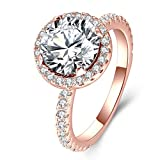 Best Jewelry For 3s - Rose Gold Plated 3ct CZ Solitaire Halo Rings Review