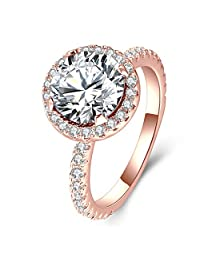 3 Carat Round CZ Solitaire Ring for Women White Gold Plated, Halo Style Shining Jewelry Gifts for Her Size 5-10