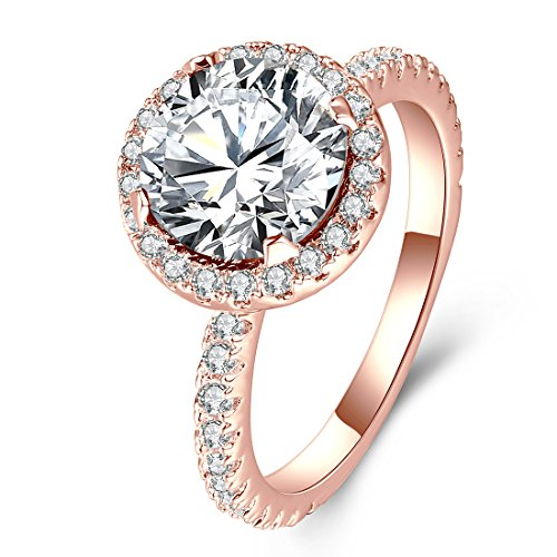 (3 Carat Women Promise Engagement Ring Rose Gold Plated Elegant Round Cubic Zirconia Solitaire Halo Rings Girlfriend Wife Christmas Valentine's Day Jewelry Gifts Size 8)