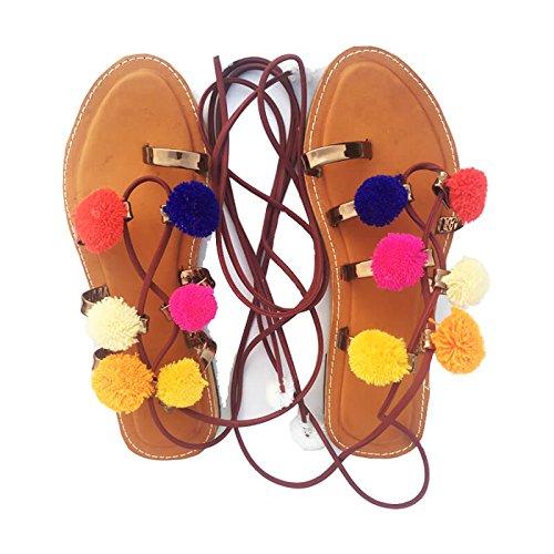 Purely Lush POM POM TIE UP Slippers Tan