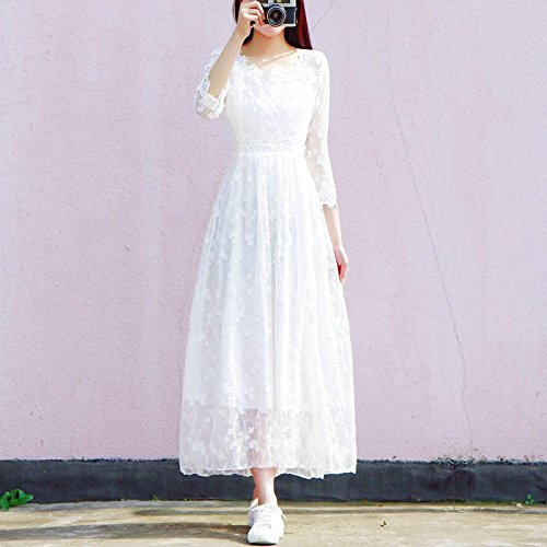 Robes suggre Blanc Robe Jupe L Robe Blanc Poids Split Dame Sept MiGMV Jupe 120 Dentelle Manches 108 HxqwP54Y