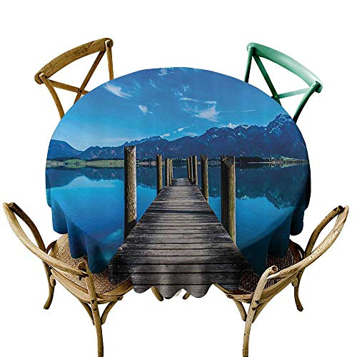 Jbgzzm Oil-Proof and Leak-Proof Tablecloth Wooden Bridge Decor Collection Wooden Pier Jetty on Lake Mountain Clear Sky Reflection Picture Party D55 Navy Blue Ecru