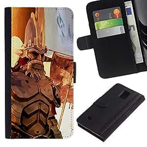 // PHONE CASE GIFT // Moda Estuche Funda de Cuero Billetera Tarjeta de crédito dinero bolsa Cubierta de proteccion Caso Samsung Galaxy Note 4 IV / War old hero /