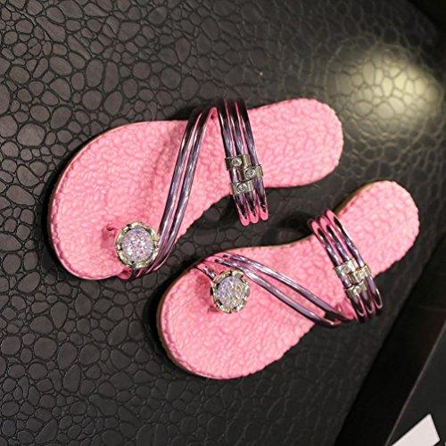 Flat Beach Shoes Loafers Flip Flower Flops Ring Massage Pink Amiley Sandals Women Toe qX61wpBp
