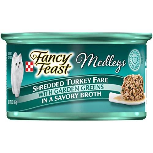 Formula 24/3 Oz Cans - Purina Fancy Feast Shredded Turkey Fare Cat Food - (24) 3 oz. Pull-top Can