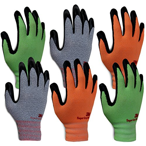 3M Super Grip 200 Gardening Gloves Work Gloves - 6 pack (Small) by 3M Super Grip