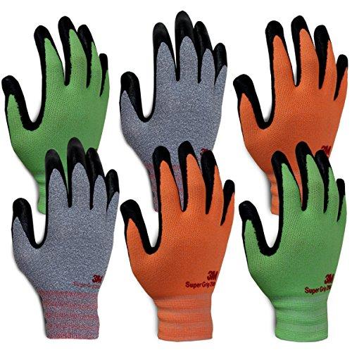 3M Super Grip 200 Gardening Gloves Work Gloves - 6 pack (Small) by 3M Super Grip