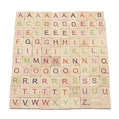 Cute star 100個Scrabbleタイル木製カラフル文字アルファベットスペルバルクボードゲームおもちゃ装飾for Craftsペンダントスクラップブックカード