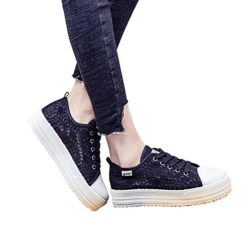 ANDAY Womens Casual Hollowed Lace Flatform Shoes Breathable Thick Sole Sports Sandals Outdoor Pumps Black 1YLKd5g3