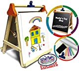 "Deluxe 3-in-1 Wooden Tabletop Easel with Blackboard, Dry Erase, Paper Roll & Accessories - ""Matty's Toy Stop"" Exclusive"