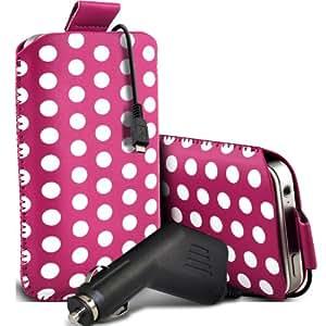 Nokia Lumia 520 Protección Premium Polka PU ficha de extracción Slip In Pouch Pocket Cordón piel cubierta Con Quick 12v Micro USB Car Charger Hot Pink & White por Spyrox