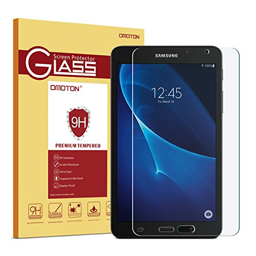 OMOTON Samsung Galaxy Tab A 7.0 (SM-T280 ONLY) Screen Protector, Tempered-Glass Protector with [9H Hardness] [Crystal Clear] [Scratch-Resistant] [Bubble Free] (Tablet Case 7 Inch Free Shipping)