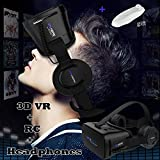 "Cheap VR Goggles Virtual Reality Headset with Remote & Headphones for iPhone X 8 6 Plus SE, Samsung Galaxy S8 S7 S6 Edge Note5, 3D VR Glasses for 3D Movie & Game for 4.0-6.0"" IOS & Android Smartphone, Black"